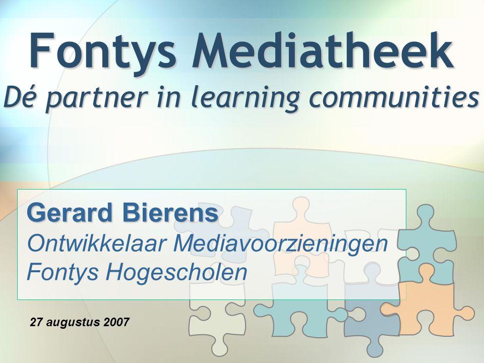 Agenda Fontys Mediatheek Fact Sheet Fontys Mediatheek Portal −Steeds meer weten, vinden, delen en ondersteunen −Weblog, wiki, zoekmachine −Meervoudige toegang Plannen Web 2.0 / Library 2.0