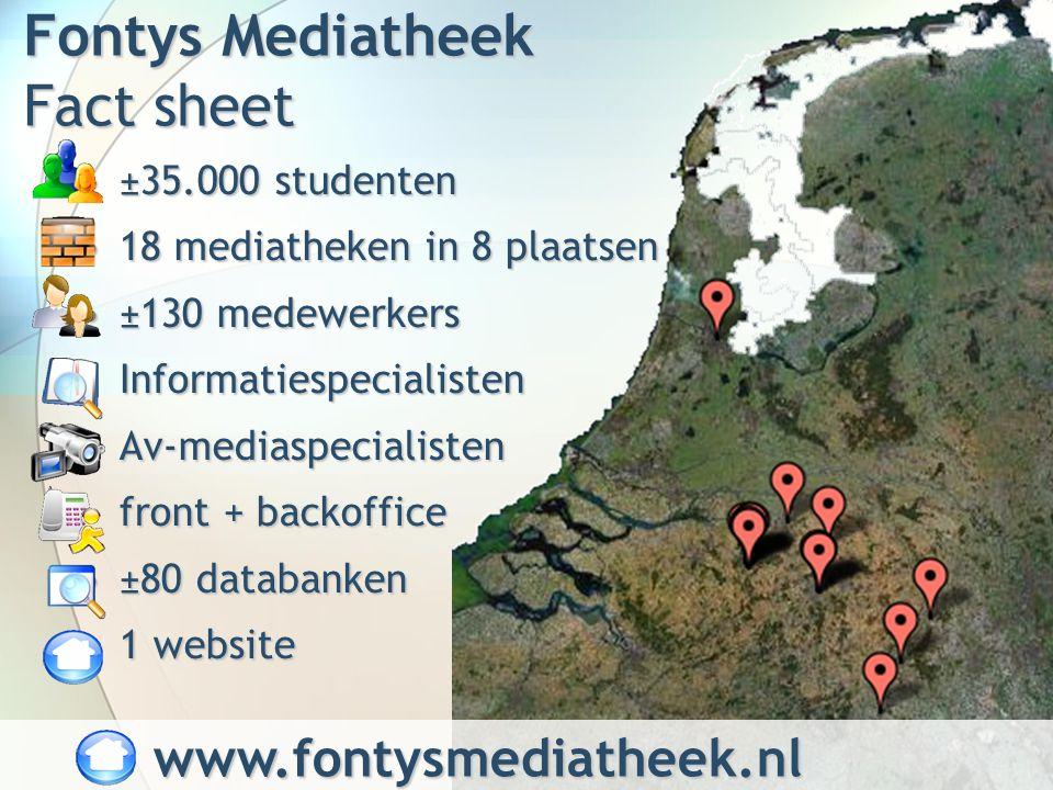 Fontys Mediatheek Fact sheet ±35.000 studenten±35.000 studenten 18 mediatheken in 8 plaatsen18 mediatheken in 8 plaatsen ±130 medewerkers±130 medewerkers InformatiespecialistenInformatiespecialisten Av-mediaspecialistenAv-mediaspecialisten front + backofficefront + backoffice ±80 databanken±80 databanken 1 website1 website www.fontysmediatheek.nl www.fontysmediatheek.nl