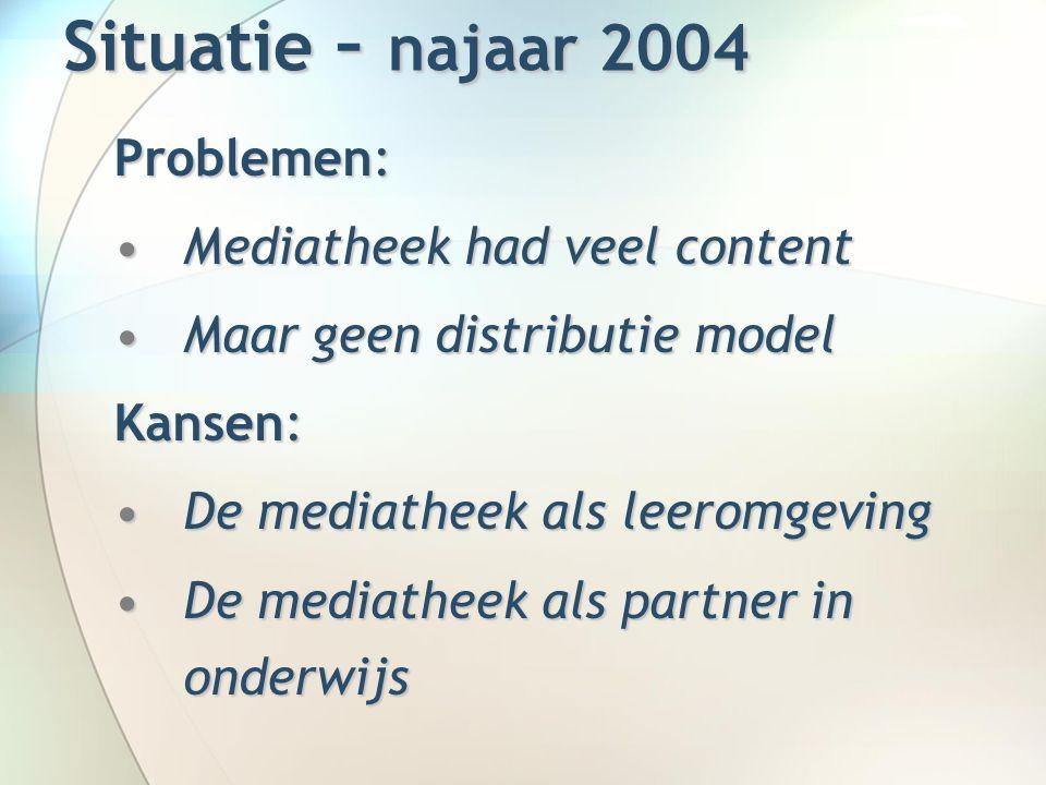 Situatie – najaar 2004 Problemen: Mediatheek had veel contentMediatheek had veel content Maar geen distributie modelMaar geen distributie model Kansen: De mediatheek als leeromgevingDe mediatheek als leeromgeving De mediatheek als partner in onderwijsDe mediatheek als partner in onderwijs