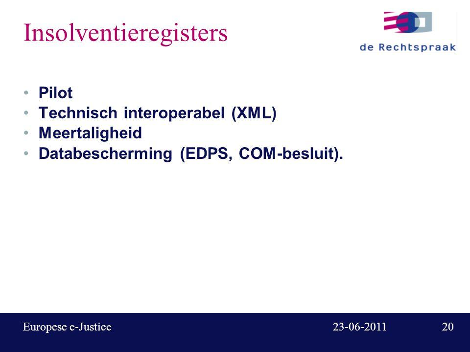 21 23-06-2011Europese e-Justice e-Codex E-justice Communication via On line Data EXchange Grootschalige Europese pilot voor grensoverschrijdend gerechtelijk / justitieel berichtenverkeer Duur 3 jaar, start 1-1- 11, budget ca.