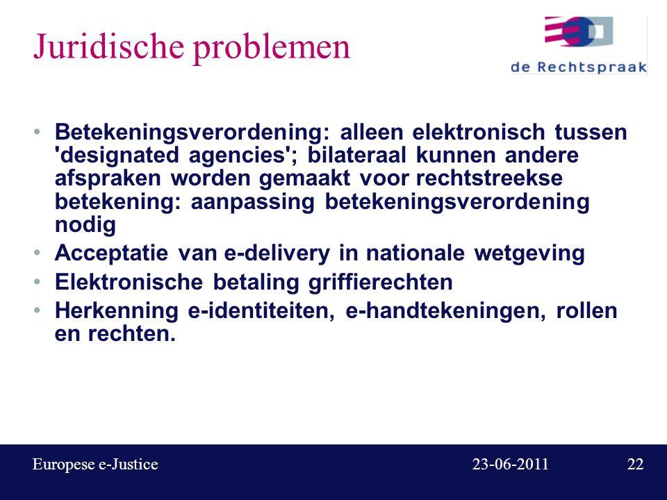 23 23-06-2011Europese e-Justice European Case Law Identifier Buitenlandse jurisprudentie steeds belangrijker Niet (elektronisch) citeerbaar, niet vindbaar, niet doorzoekbaar, ondanks verschillende initiatieven Standaardisatie van nummering en metadata is noodzakelijke eerste stap.
