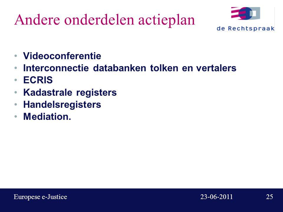 25 23-06-2011Europese e-Justice Andere onderdelen actieplan Videoconferentie Interconnectie databanken tolken en vertalers ECRIS Kadastrale registers Handelsregisters Mediation.