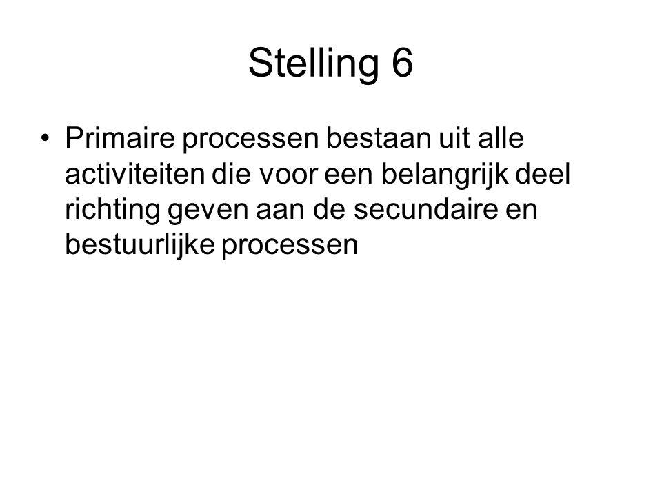 Stelling 6 Primaire processen bestaan uit alle activiteiten die voor een belangrijk deel richting geven aan de secundaire en bestuurlijke processen