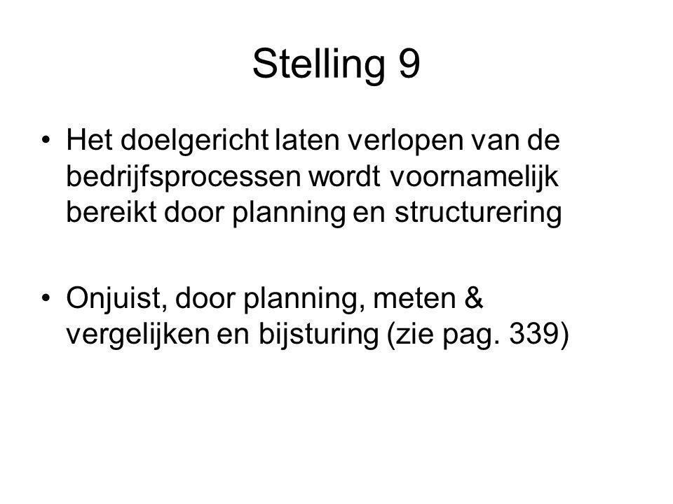 Stelling 9 Het doelgericht laten verlopen van de bedrijfsprocessen wordt voornamelijk bereikt door planning en structurering Onjuist, door planning, meten & vergelijken en bijsturing (zie pag.