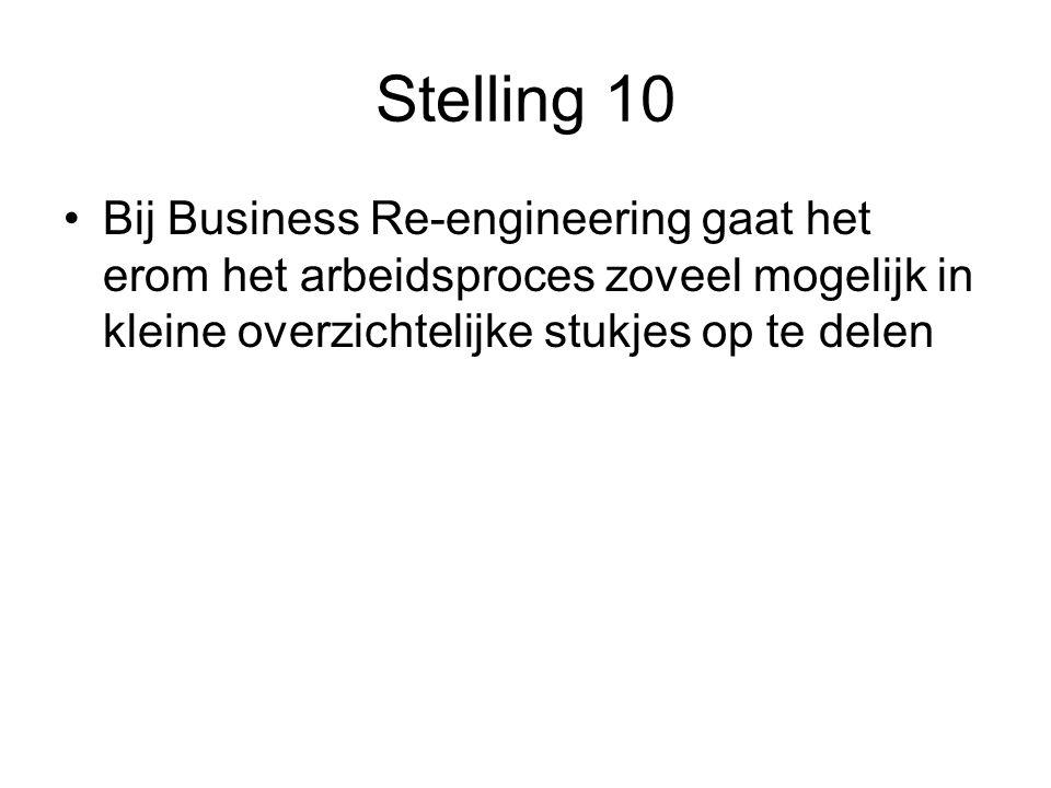 Stelling 10 Bij Business Re-engineering gaat het erom het arbeidsproces zoveel mogelijk in kleine overzichtelijke stukjes op te delen