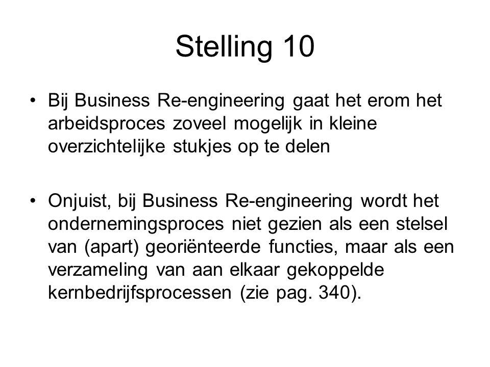 Stelling 10 Bij Business Re-engineering gaat het erom het arbeidsproces zoveel mogelijk in kleine overzichtelijke stukjes op te delen Onjuist, bij Business Re-engineering wordt het ondernemingsproces niet gezien als een stelsel van (apart) georiënteerde functies, maar als een verzameling van aan elkaar gekoppelde kernbedrijfsprocessen (zie pag.
