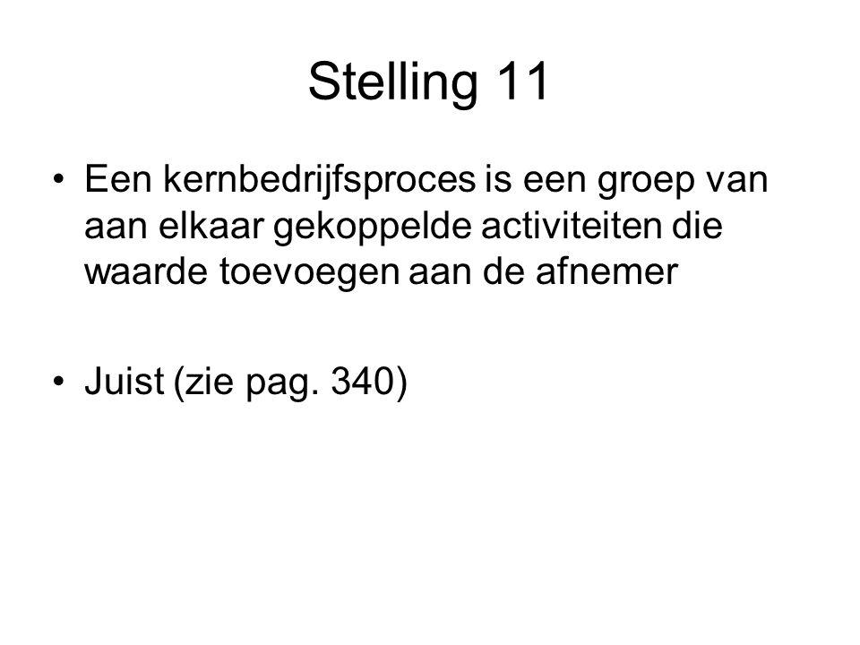 Stelling 11 Een kernbedrijfsproces is een groep van aan elkaar gekoppelde activiteiten die waarde toevoegen aan de afnemer Juist (zie pag.