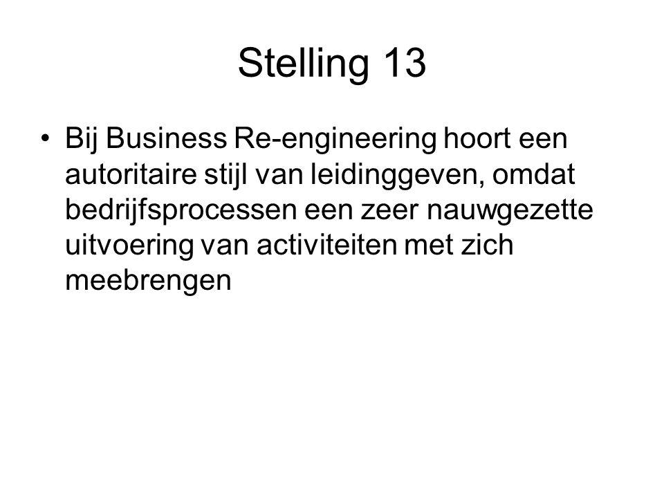 Stelling 13 Bij Business Re-engineering hoort een autoritaire stijl van leidinggeven, omdat bedrijfsprocessen een zeer nauwgezette uitvoering van activiteiten met zich meebrengen
