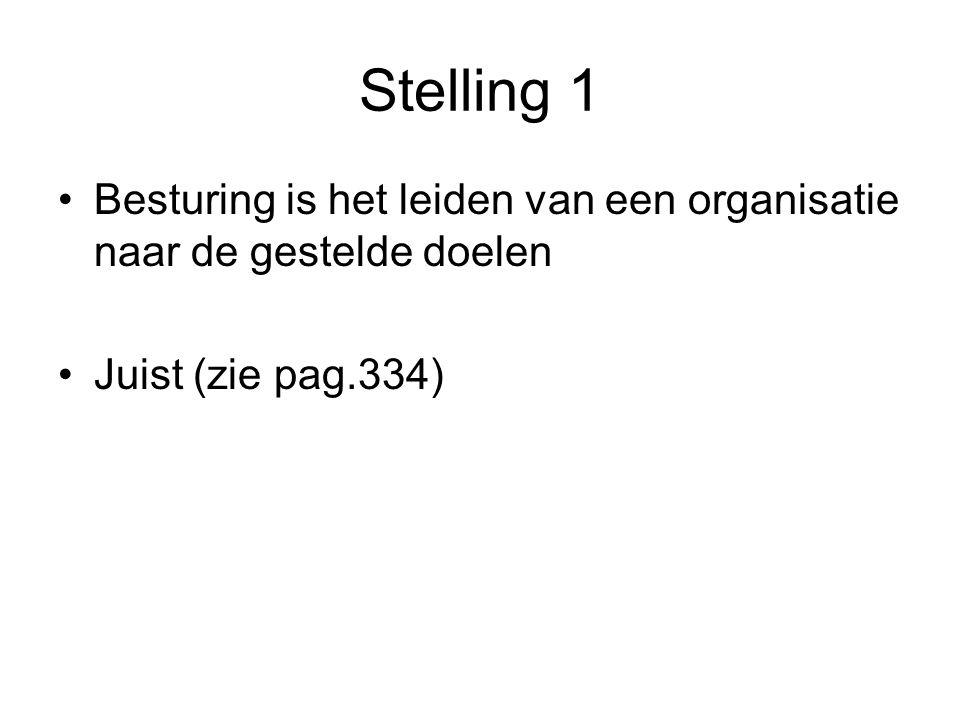 Stelling 1 Besturing is het leiden van een organisatie naar de gestelde doelen Juist (zie pag.334)