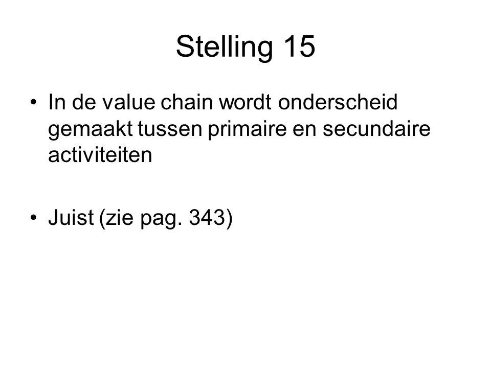 Stelling 15 In de value chain wordt onderscheid gemaakt tussen primaire en secundaire activiteiten Juist (zie pag.