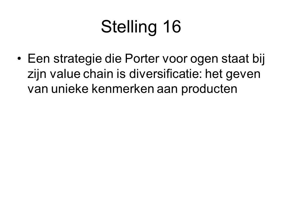 Stelling 16 Een strategie die Porter voor ogen staat bij zijn value chain is diversificatie: het geven van unieke kenmerken aan producten