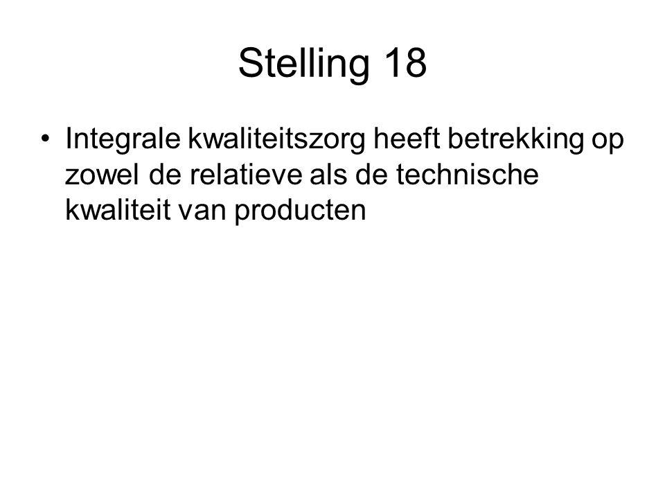 Stelling 18 Integrale kwaliteitszorg heeft betrekking op zowel de relatieve als de technische kwaliteit van producten