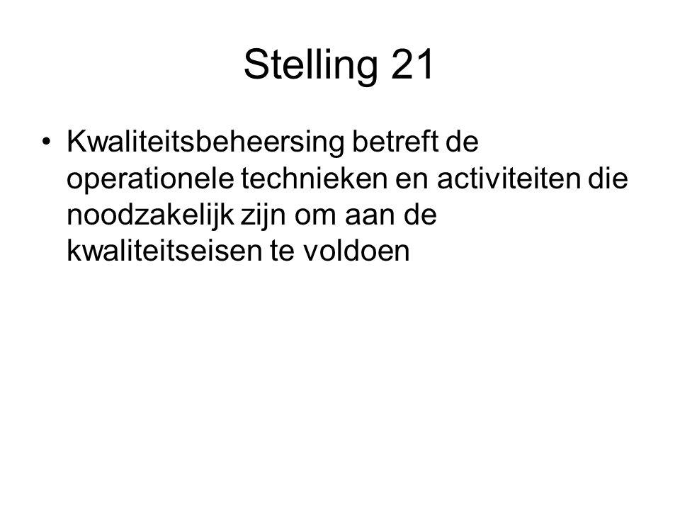 Stelling 21 Kwaliteitsbeheersing betreft de operationele technieken en activiteiten die noodzakelijk zijn om aan de kwaliteitseisen te voldoen
