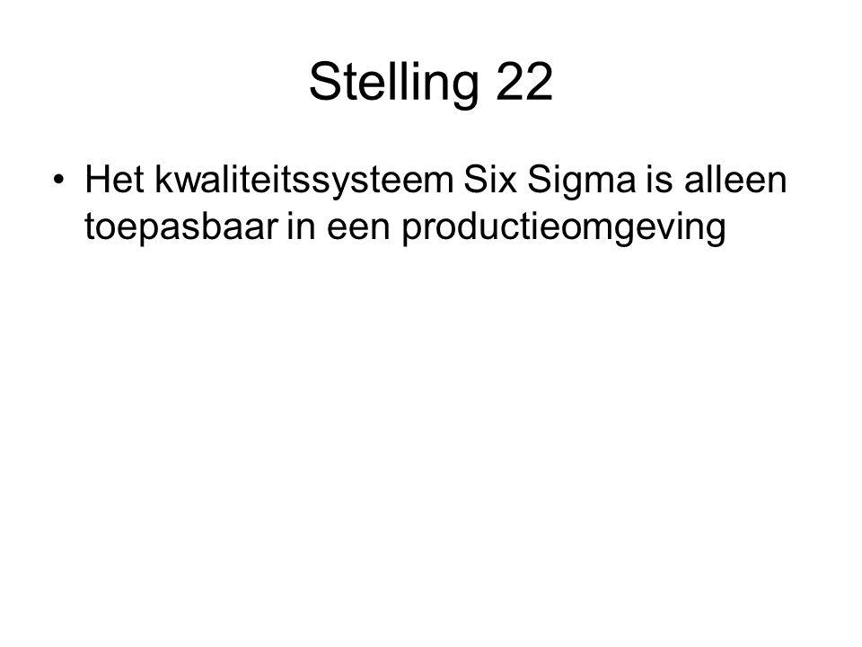 Stelling 22 Het kwaliteitssysteem Six Sigma is alleen toepasbaar in een productieomgeving