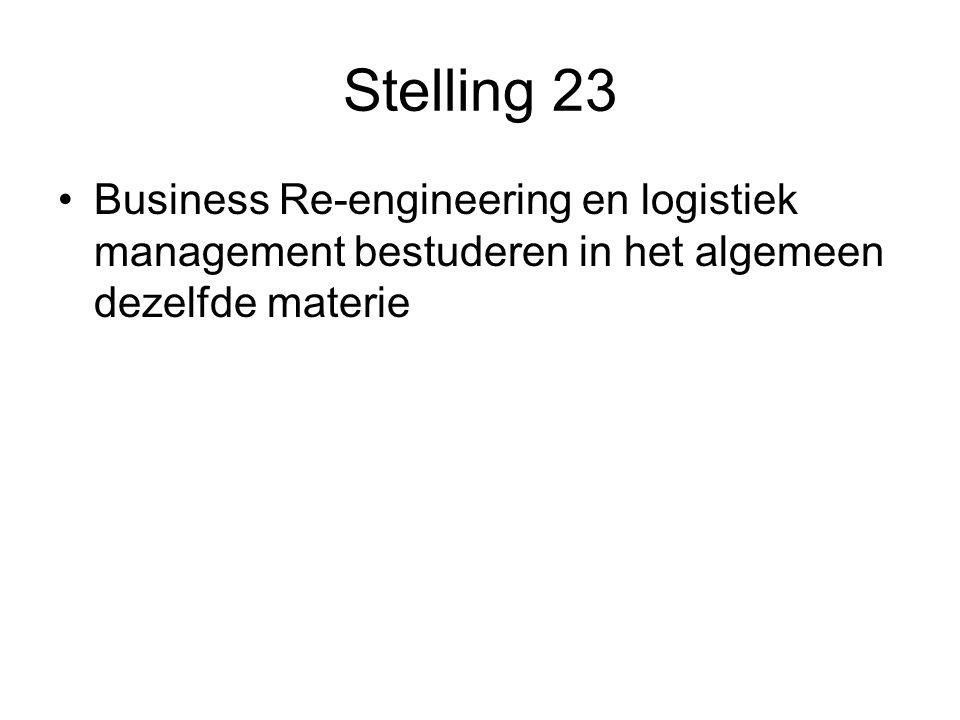 Stelling 23 Business Re-engineering en logistiek management bestuderen in het algemeen dezelfde materie