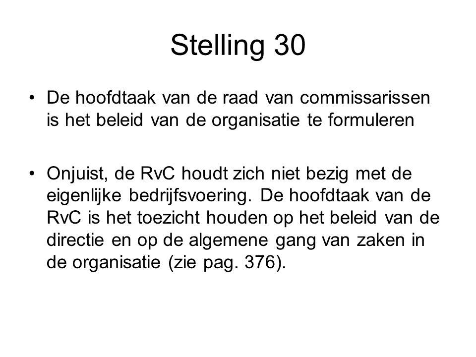 Stelling 30 De hoofdtaak van de raad van commissarissen is het beleid van de organisatie te formuleren Onjuist, de RvC houdt zich niet bezig met de eigenlijke bedrijfsvoering.