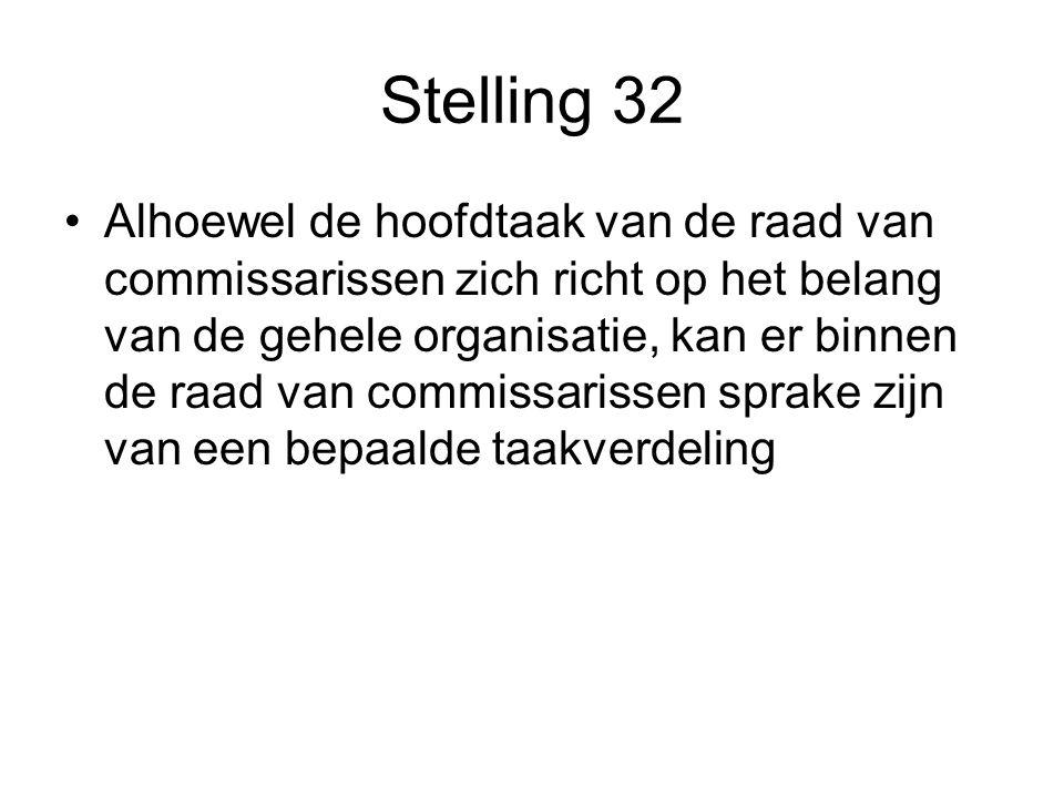 Stelling 32 Alhoewel de hoofdtaak van de raad van commissarissen zich richt op het belang van de gehele organisatie, kan er binnen de raad van commissarissen sprake zijn van een bepaalde taakverdeling