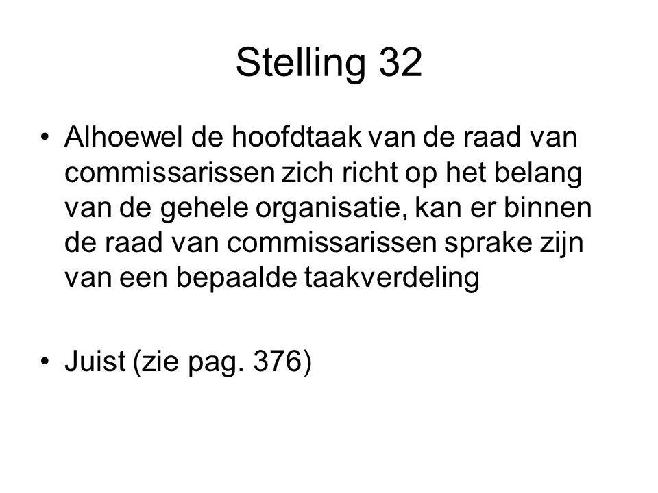 Stelling 32 Alhoewel de hoofdtaak van de raad van commissarissen zich richt op het belang van de gehele organisatie, kan er binnen de raad van commissarissen sprake zijn van een bepaalde taakverdeling Juist (zie pag.