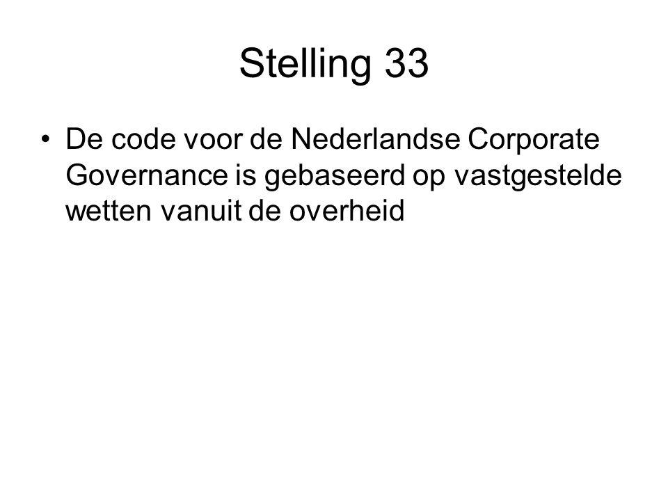 Stelling 33 De code voor de Nederlandse Corporate Governance is gebaseerd op vastgestelde wetten vanuit de overheid