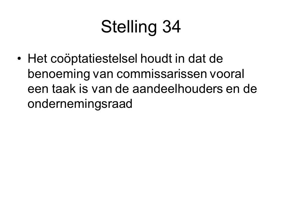 Stelling 34 Het coöptatiestelsel houdt in dat de benoeming van commissarissen vooral een taak is van de aandeelhouders en de ondernemingsraad