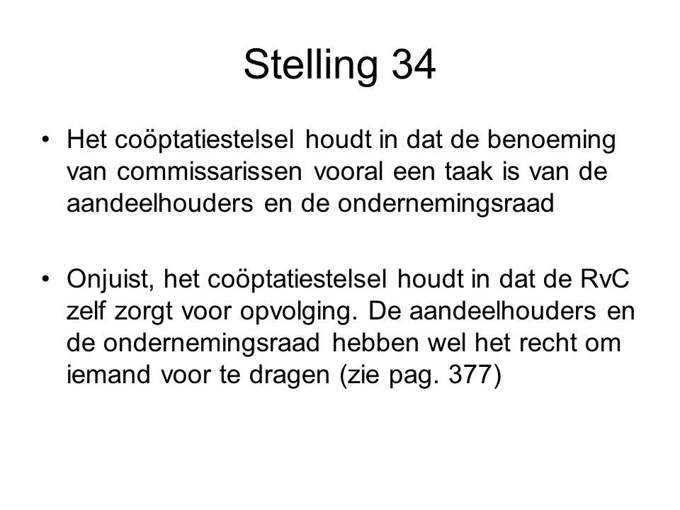 Stelling 34 Het coöptatiestelsel houdt in dat de benoeming van commissarissen vooral een taak is van de aandeelhouders en de ondernemingsraad Onjuist, het coöptatiestelsel houdt in dat de RvC zelf zorgt voor opvolging.