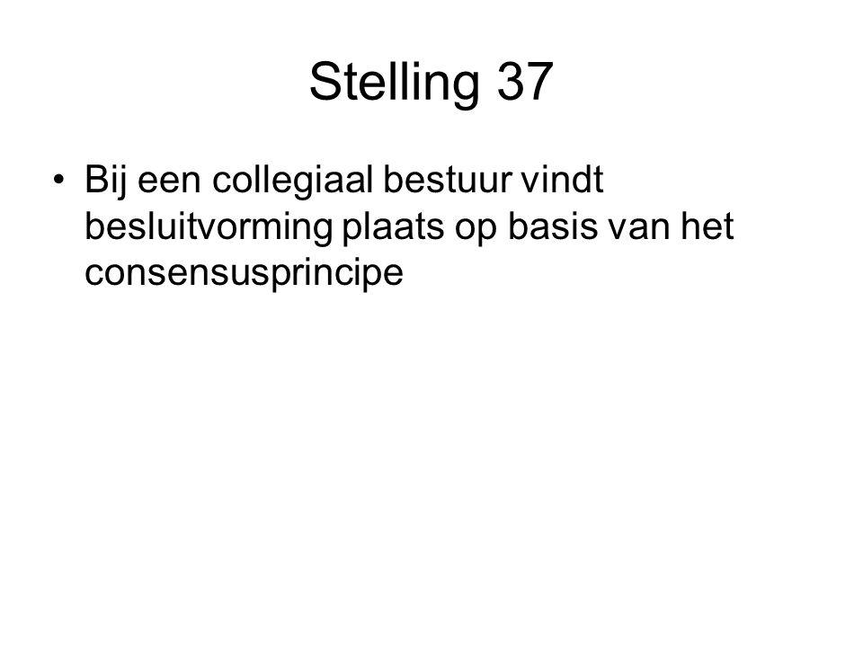 Stelling 37 Bij een collegiaal bestuur vindt besluitvorming plaats op basis van het consensusprincipe