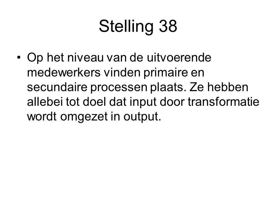 Stelling 38 Op het niveau van de uitvoerende medewerkers vinden primaire en secundaire processen plaats.