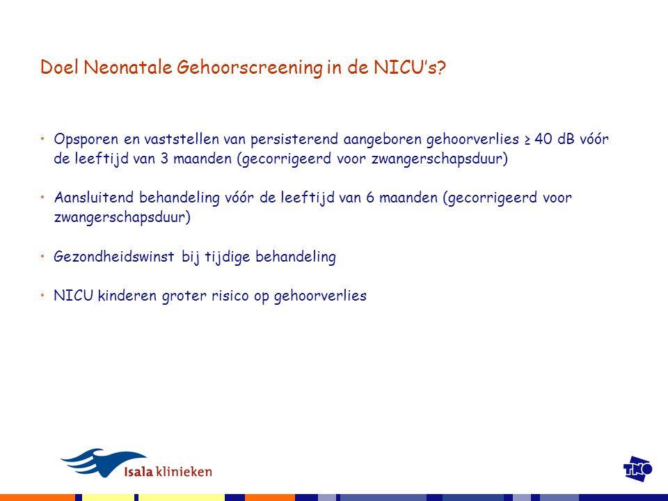 Doel Neonatale Gehoorscreening in de NICU's.