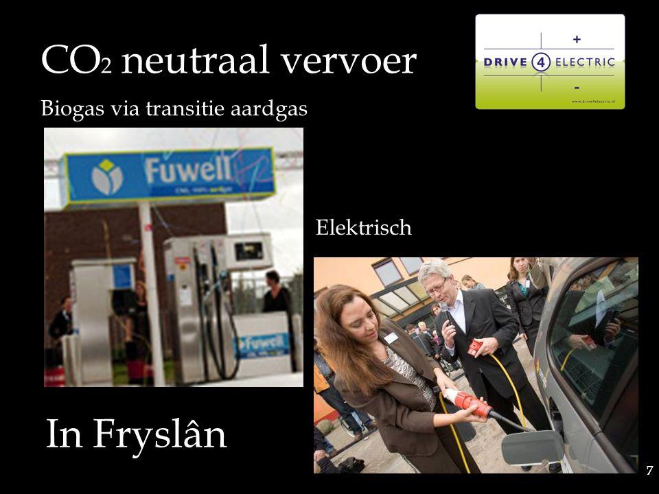 7 7 CO 2 neutraal vervoer Biogas via transitie aardgas Elektrisch In Fryslân