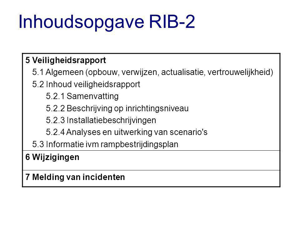 Inhoudsopgave RIB-2 5 Veiligheidsrapport 5.1 Algemeen (opbouw, verwijzen, actualisatie, vertrouwelijkheid) 5.2 Inhoud veiligheidsrapport 5.2.1 Samenvatting 5.2.2 Beschrijving op inrichtingsniveau 5.2.3 Installatiebeschrijvingen 5.2.4 Analyses en uitwerking van scenario s 5.3 Informatie ivm rampbestrijdingsplan 6 Wijzigingen 7 Melding van incidenten