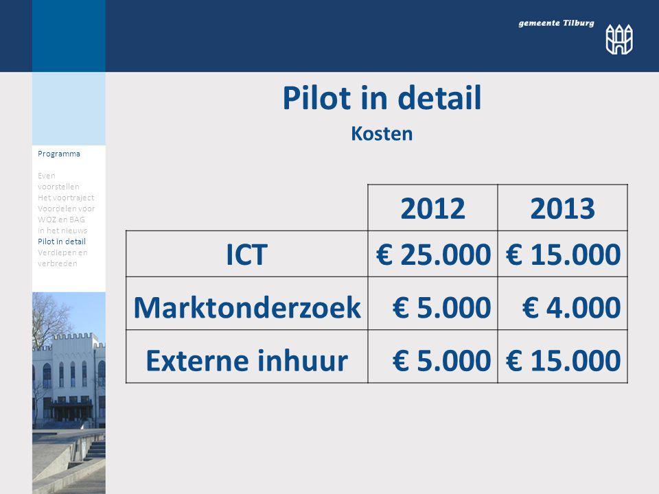 20122013 ICT€ 25.000€ 15.000 Marktonderzoek€ 5.000€ 4.000 Externe inhuur€ 5.000€ 15.000 Kosten Pilot in detail Programma Even voorstellen Het voortraj