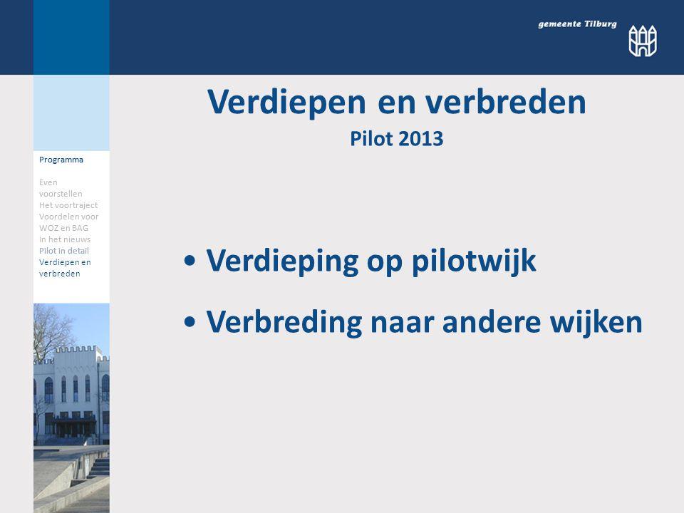 Programma Even voorstellen Het voortraject Voordelen voor WOZ en BAG In het nieuws Pilot in detail Verdiepen en verbreden Pilot 2013 Programma Even vo