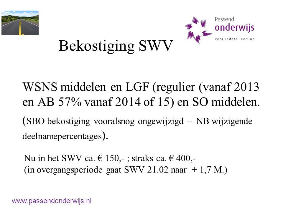 Bekostiging SWV WSNS middelen en LGF (regulier (vanaf 2013 en AB 57% vanaf 2014 of 15) en SO middelen. ( SBO bekostiging vooralsnog ongewijzigd – NB w