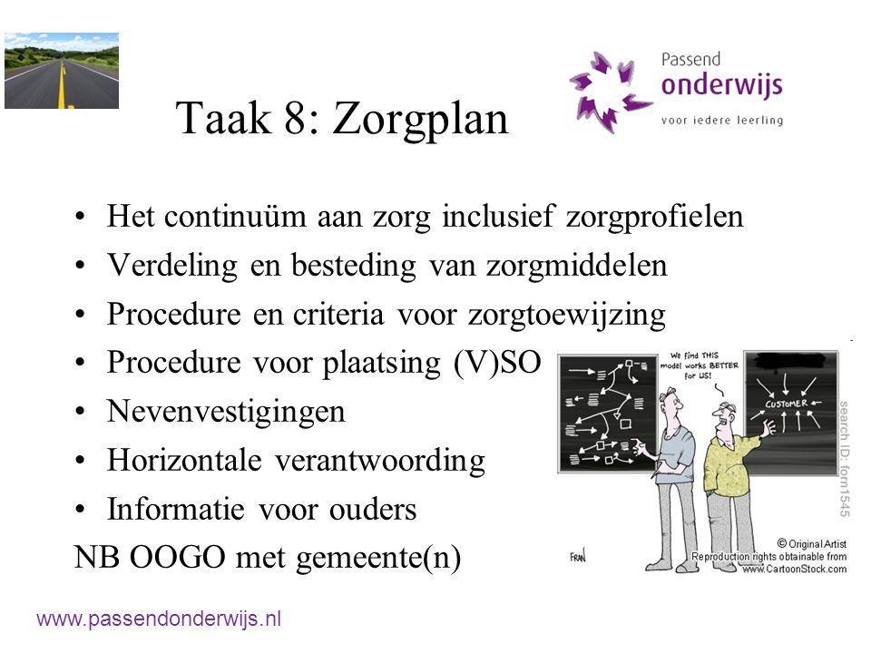 Taak 8: Zorgplan Het continuüm aan zorg inclusief zorgprofielen Verdeling en besteding van zorgmiddelen Procedure en criteria voor zorgtoewijzing Proc