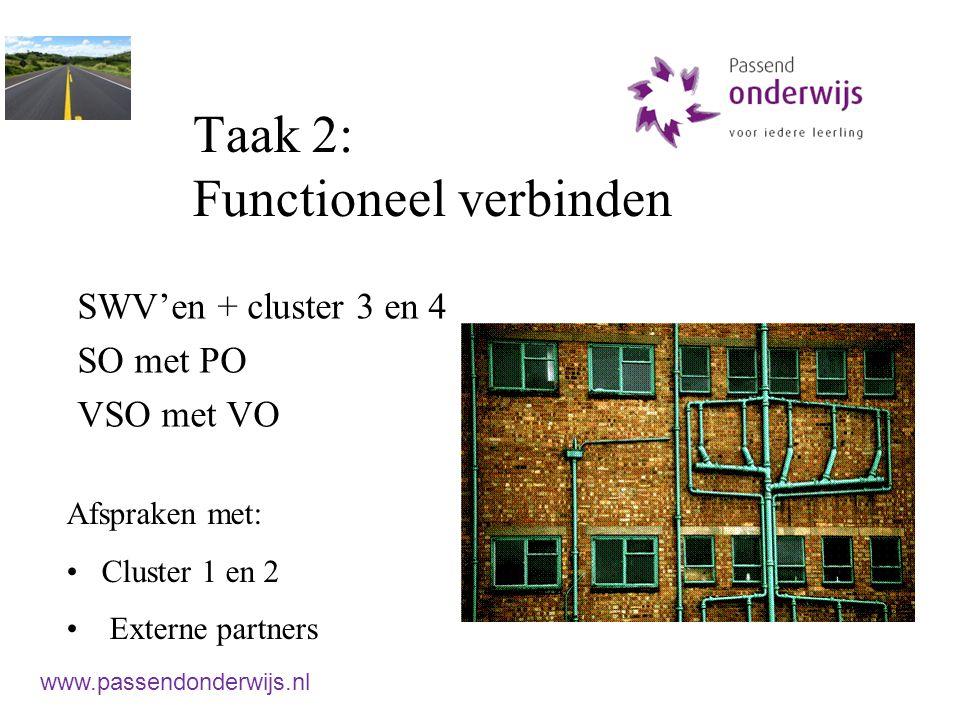 Taak 2: Functioneel verbinden SWV'en + cluster 3 en 4 SO met PO VSO met VO Afspraken met: Cluster 1 en 2 Externe partners www.passendonderwijs.nl