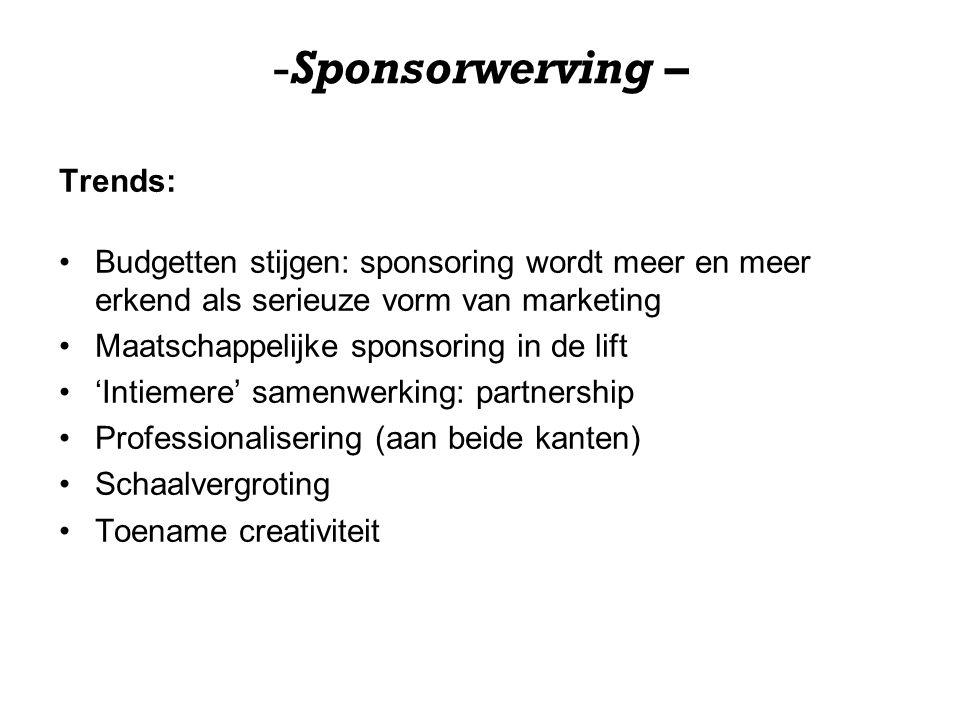 -Sponsorwerving – Trends: Budgetten stijgen: sponsoring wordt meer en meer erkend als serieuze vorm van marketing Maatschappelijke sponsoring in de lift 'Intiemere' samenwerking: partnership Professionalisering (aan beide kanten) Schaalvergroting Toename creativiteit