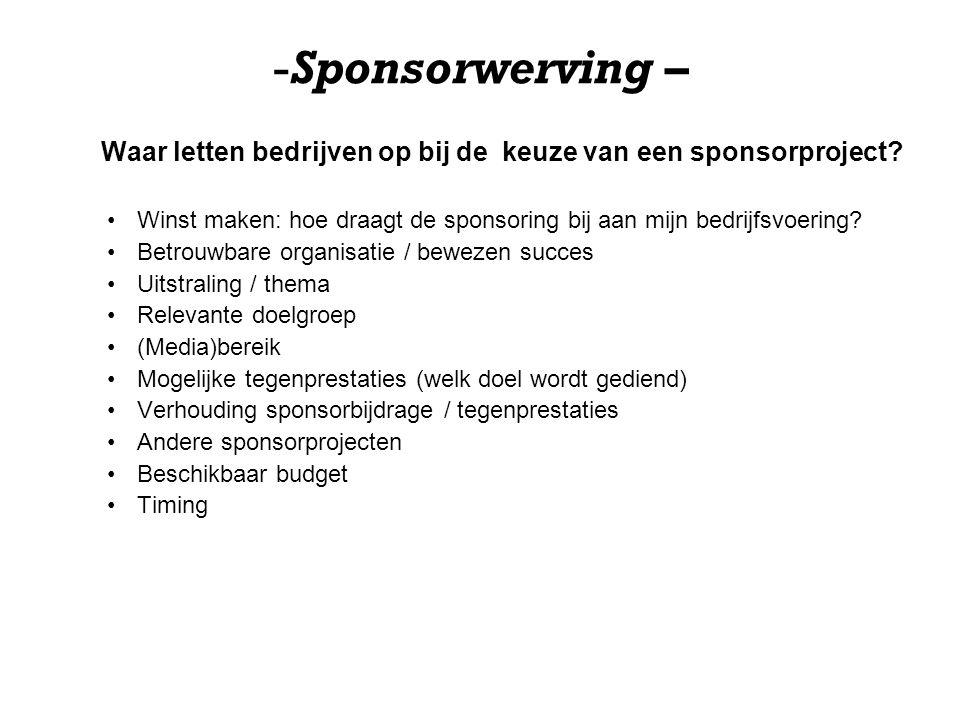 -Sponsorwerving – Waar letten bedrijven op bij de keuze van een sponsorproject? Winst maken: hoe draagt de sponsoring bij aan mijn bedrijfsvoering? Be