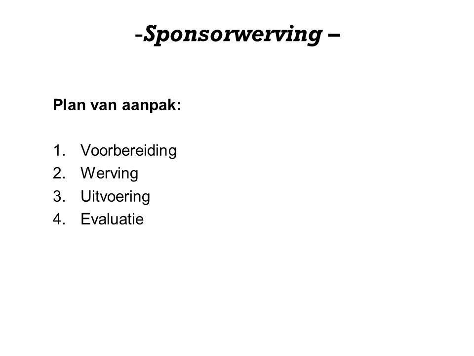 -Sponsorwerving – Plan van aanpak: 1.Voorbereiding 2.Werving 3.Uitvoering 4.Evaluatie