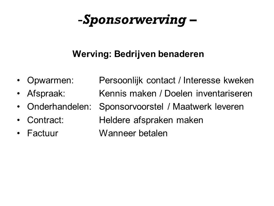 -Sponsorwerving – Werving: Bedrijven benaderen Opwarmen: Persoonlijk contact / Interesse kweken Afspraak: Kennis maken / Doelen inventariseren Onderha