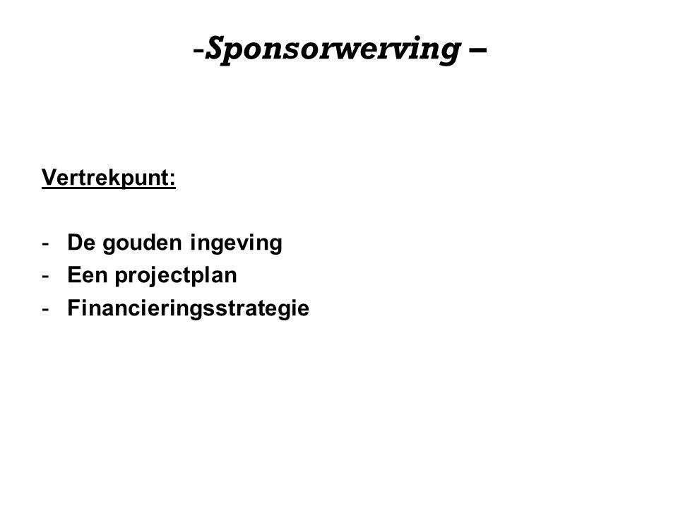 -Sponsorwerving – HET PROJECTPLAN 1) CONCEPT 1.1 Inleiding tot het evenement 1.2 Doelstellingen 1.3 Kenmerken algemeen (beschrijving concept) 2) PROGRAMMA 3) MARKETING 3.1 Doelgroepen 3.2 Communicatie / Marketing Doelen 3.3 SWOT 3.4 Publiciteitsplan 4) ORGANISATIE 4.1 Stichting 4.2 Organisatie & partners 4.3 Organisatie / Planning 5) FINANCIËN