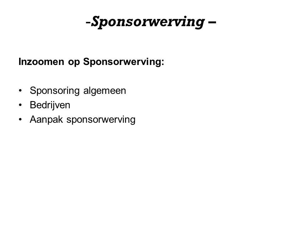 -Sponsorwerving – Inzoomen op Sponsorwerving: Sponsoring algemeen Bedrijven Aanpak sponsorwerving