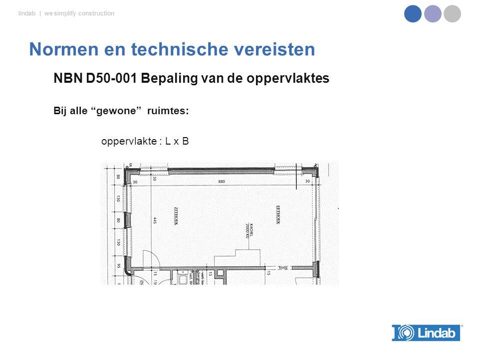lindab | we simplify construction NBN D50-001 Bepaling van de oppervlaktes Bij alle gewone ruimtes: oppervlakte : L x B Normen en technische vereisten