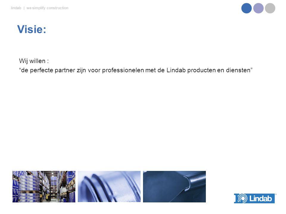 lindab | we simplify construction Wij willen : de perfecte partner zijn voor professionelen met de Lindab producten en diensten Visie: