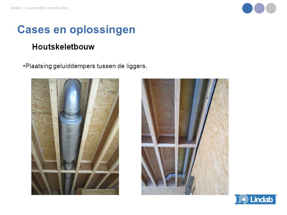 lindab | we simplify construction Houtskeletbouw Cases en oplossingen Plaatsing geluiddempers tussen de liggers.
