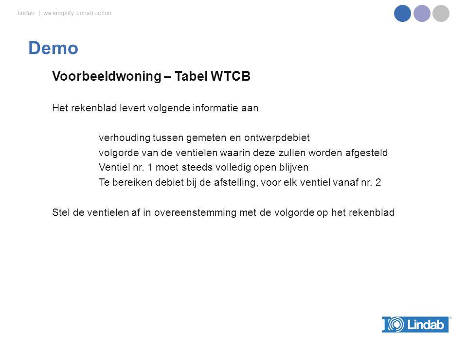 lindab | we simplify construction Voorbeeldwoning – Tabel WTCB Het rekenblad levert volgende informatie aan verhouding tussen gemeten en ontwerpdebiet volgorde van de ventielen waarin deze zullen worden afgesteld Ventiel nr.
