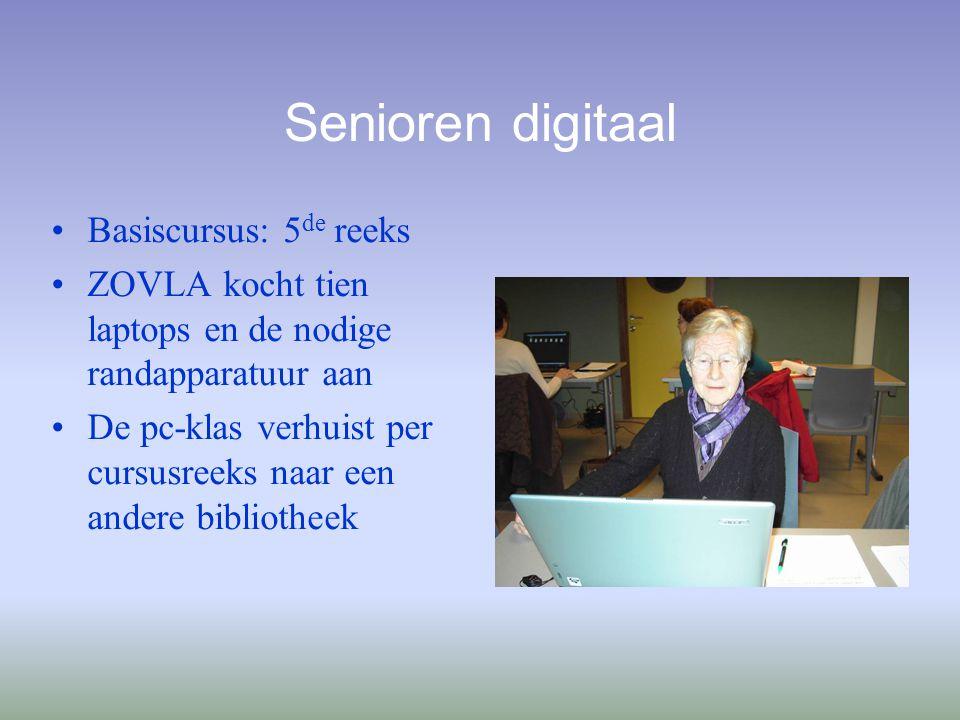 Senioren digitaal Basiscursus: 5 de reeks ZOVLA kocht tien laptops en de nodige randapparatuur aan De pc-klas verhuist per cursusreeks naar een andere bibliotheek
