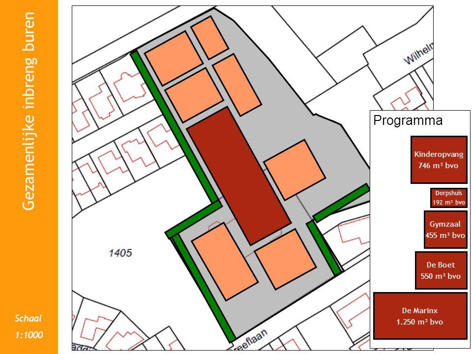 Schaal 1:1000 Gezamenlijke inbreng buren Programma De Marinx 1.250 m² bvo De Boet 550 m² bvo Dorpshuis 192 m² bvo Gymzaal 455 m² bvo Kinderopvang 746 m² bvo