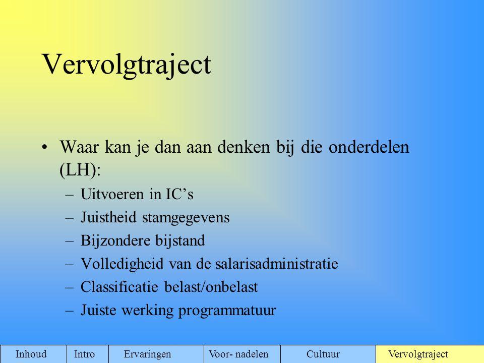 Waar kan je dan aan denken bij die onderdelen (LH): –Uitvoeren in IC's –Juistheid stamgegevens –Bijzondere bijstand –Volledigheid van de salarisadmini