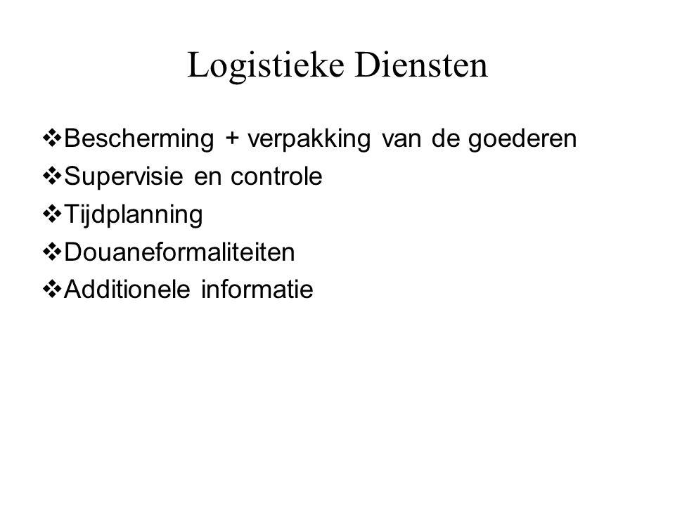 Logistieke Diensten  Bescherming + verpakking van de goederen  Supervisie en controle  Tijdplanning  Douaneformaliteiten  Additionele informatie