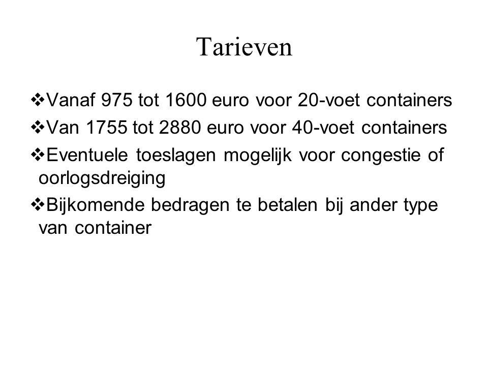 Tarieven  Vanaf 975 tot 1600 euro voor 20-voet containers  Van 1755 tot 2880 euro voor 40-voet containers  Eventuele toeslagen mogelijk voor conges